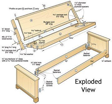 Sleeping Beauty Futon Woodworking Plan Exploded View