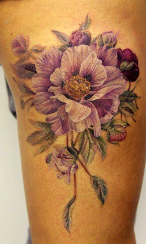 Not for a tattoo but just because i thought it was pretty purple flower tattoo no outline gives real effect mightylinksfo