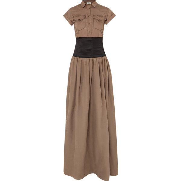 Belted Cotton And Silk-organza Maxi Dress - Brown Brunello Cucinelli rqj0jui2l