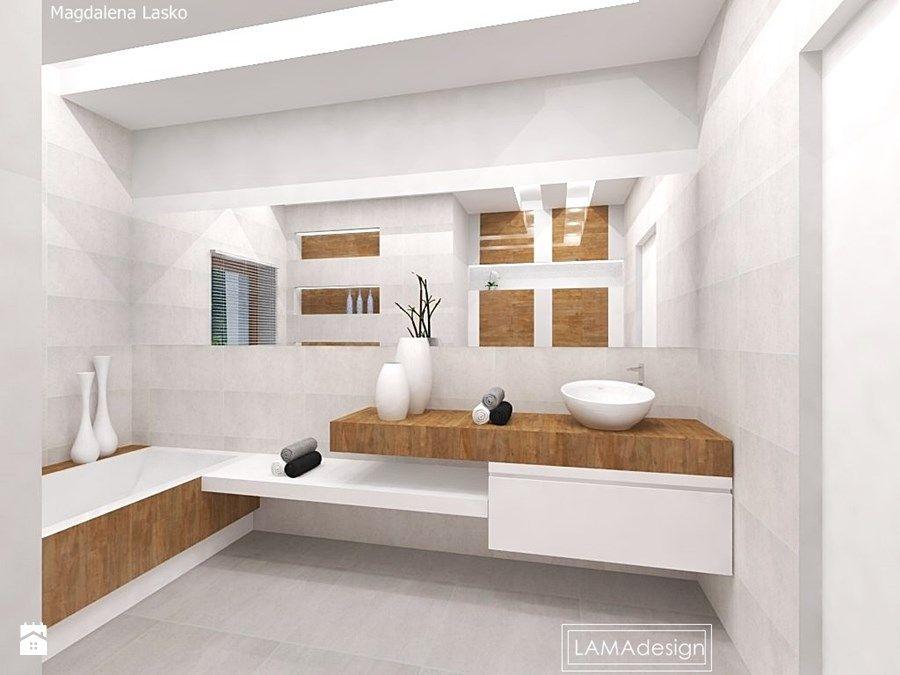 łazienka Biel I Drewno Zdjęcie Od Lamadesign Inspiring