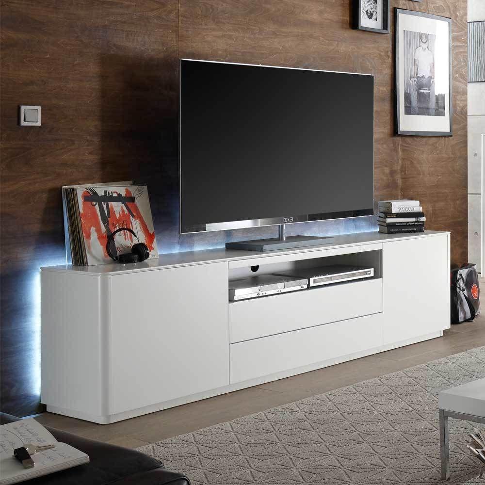 TV Schrank mit LED Beleuchtung Weiß Jetzt bestellen unter: https ...