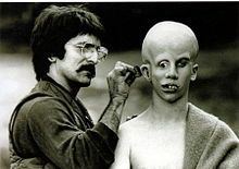 Tom Savini applies make-up to Ari Lehman, creating his vision of Jason Voorhees Friday the 13th