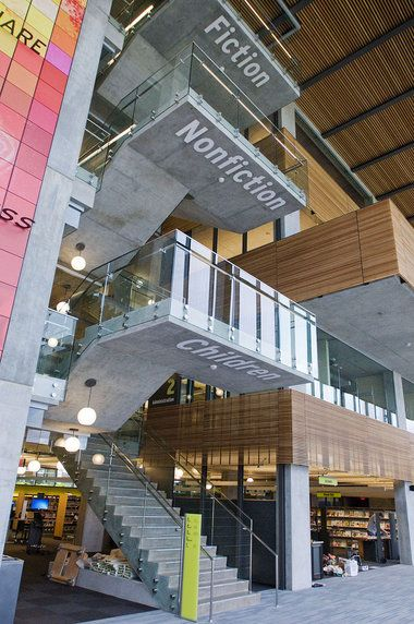 The view from the ground floor plaza of the new Vancouver Community Library offers a quick guide to navigating the collection (Brent Wohahn, The Oregonian)
