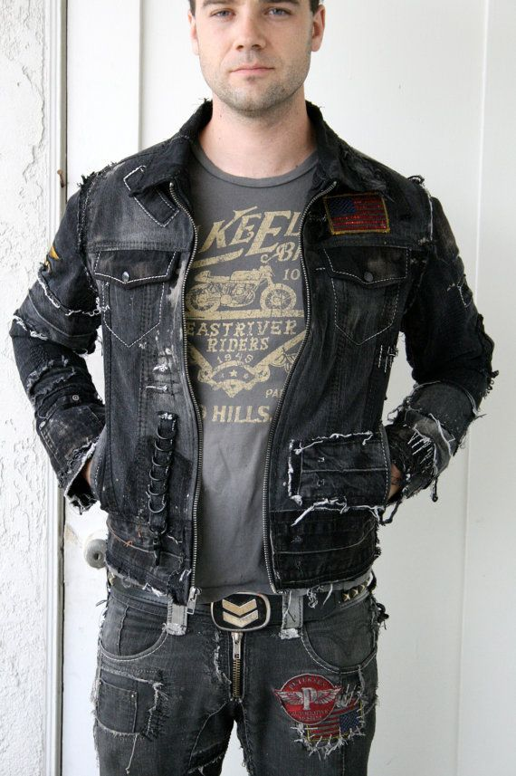 d17bf78b84 Distressed Black Denim Jacket with patches by BoneBlack on Etsy ...