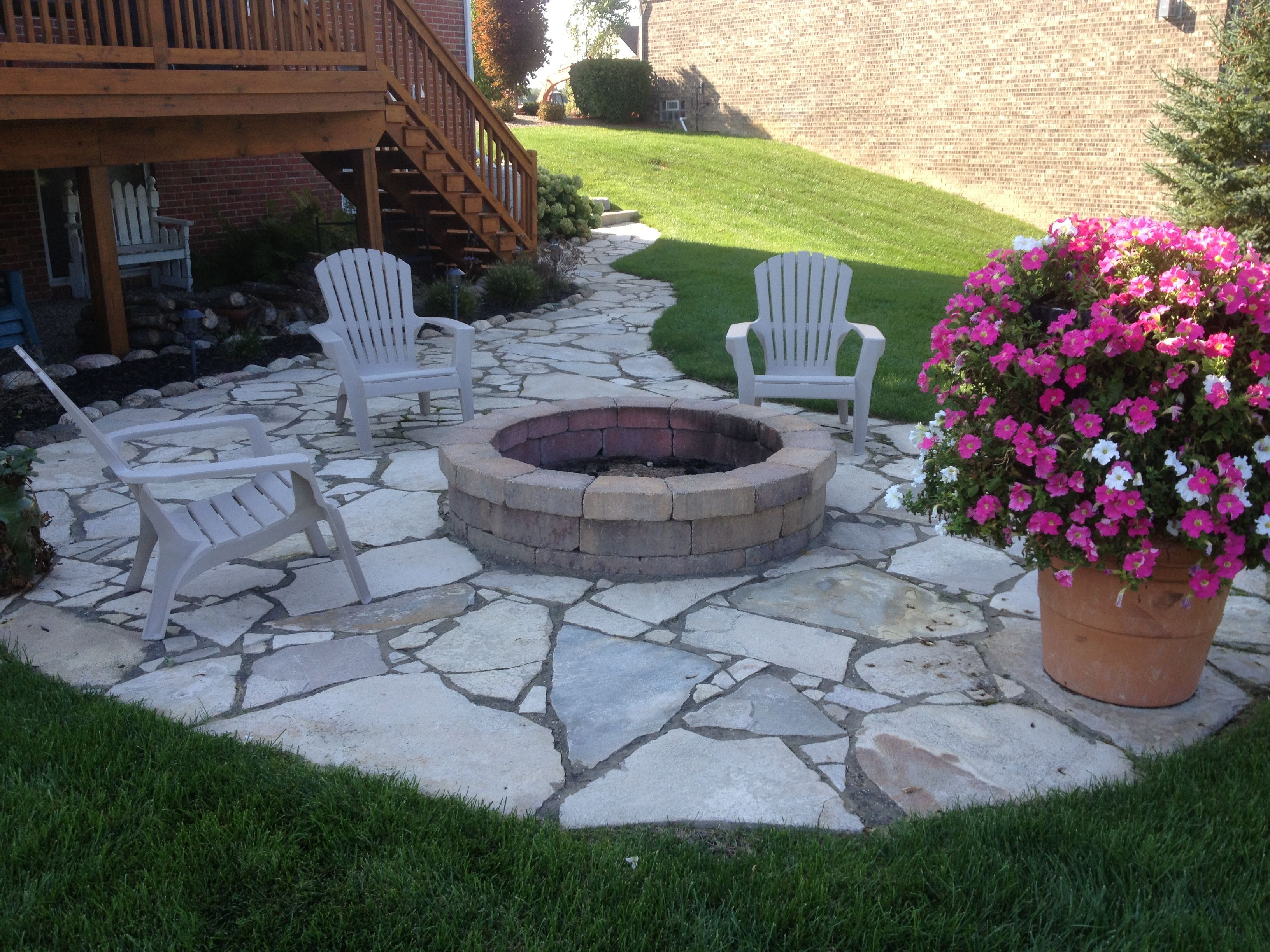 Canadian flagstone patio and firepit by design and for Pictures of stone patios