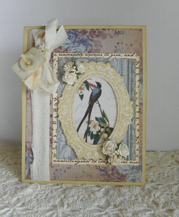 Shabby Chic Handmade Card Spring Bird Roses ✿
