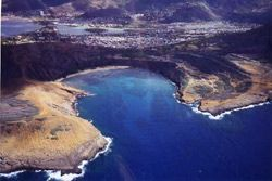 Hanauma Bay  From a helicopter tour of Oahu.  Here you can see that the bay was formed when one side of the volcano fell into the ocean about 50,000 years ago.