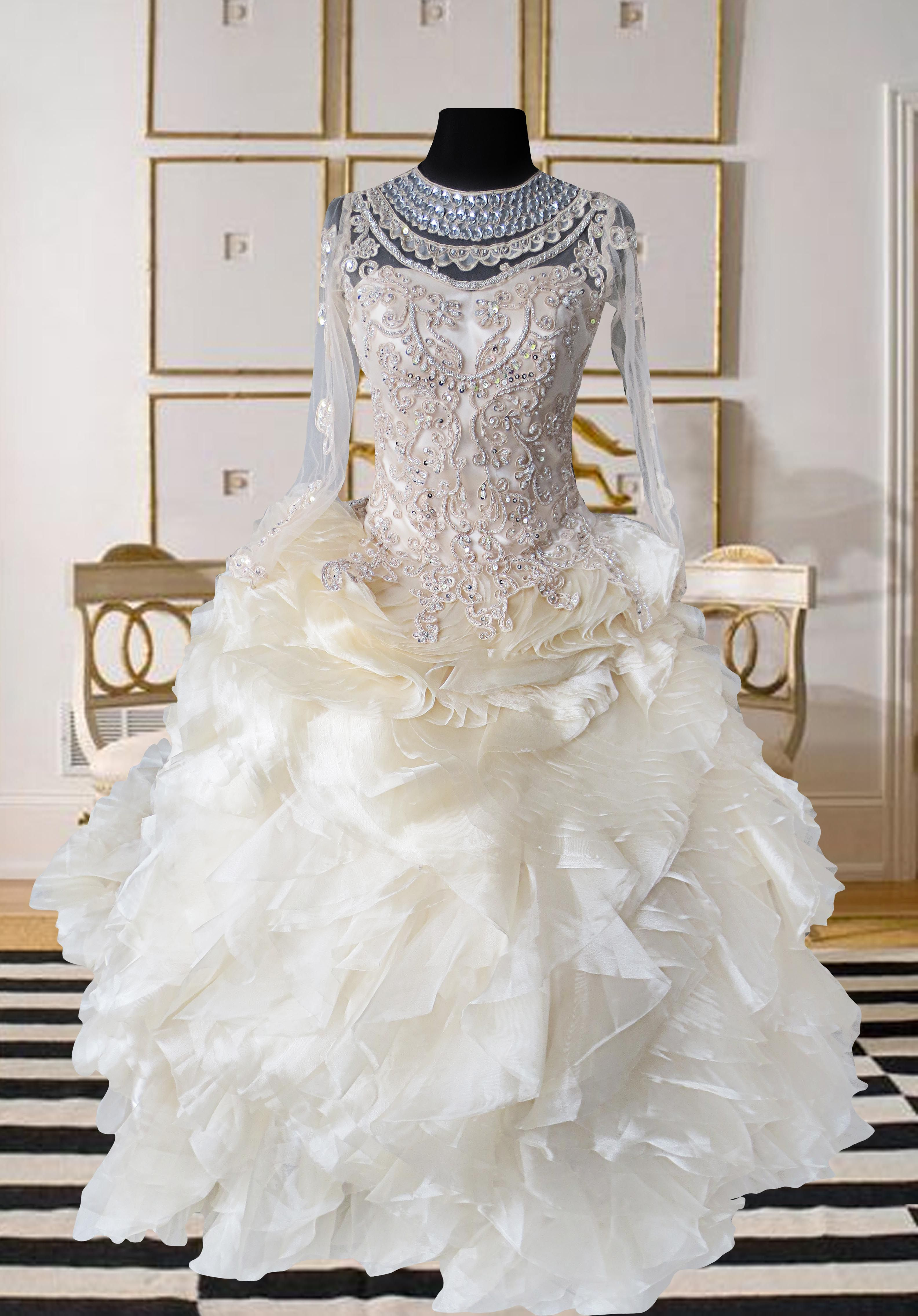vintage wedding gown unique wedding gown with french lace and bridal ...