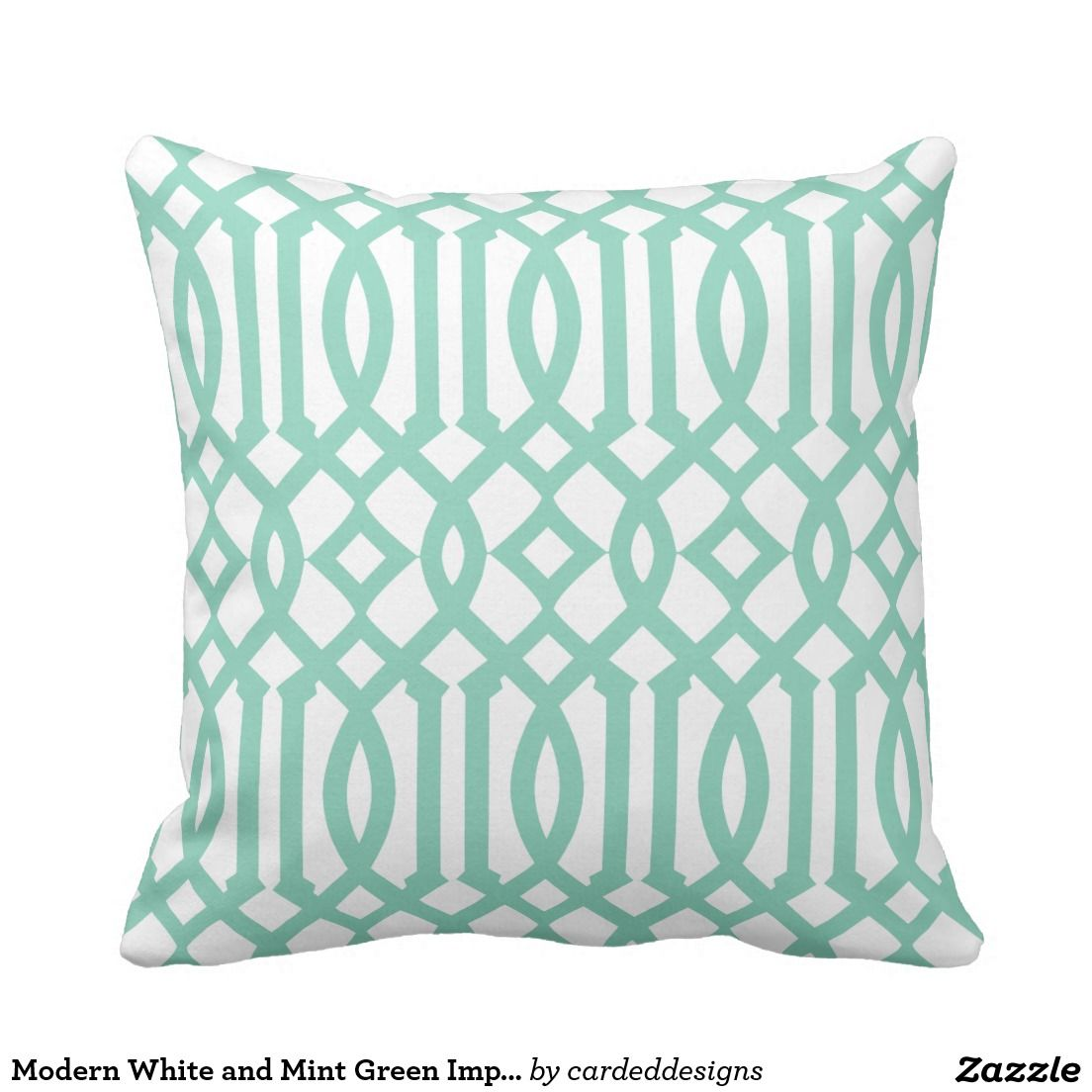 Modern White and Mint Green Imperial Trellis Throw Pillow | Mint ...