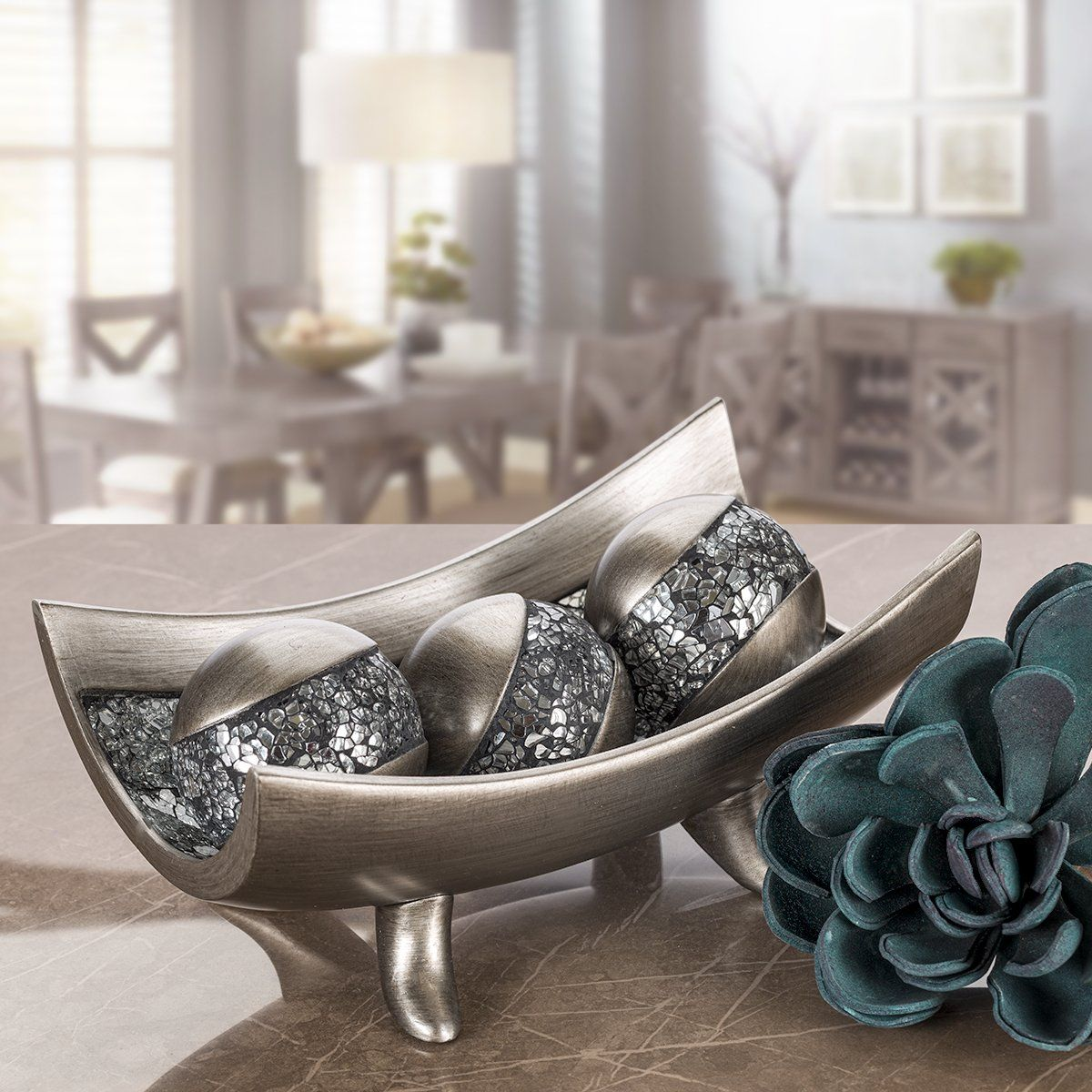 Creative Scents Schonwerk Silver Decorative Orbs For Bowls And