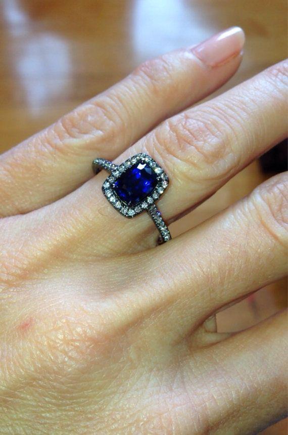 14K BLACK GOLD Engagement Ring 1.68ctw Cushion Cut Sapphire & Diamond Halo Engagement, Wedding, Anniversary, Fashion Ring