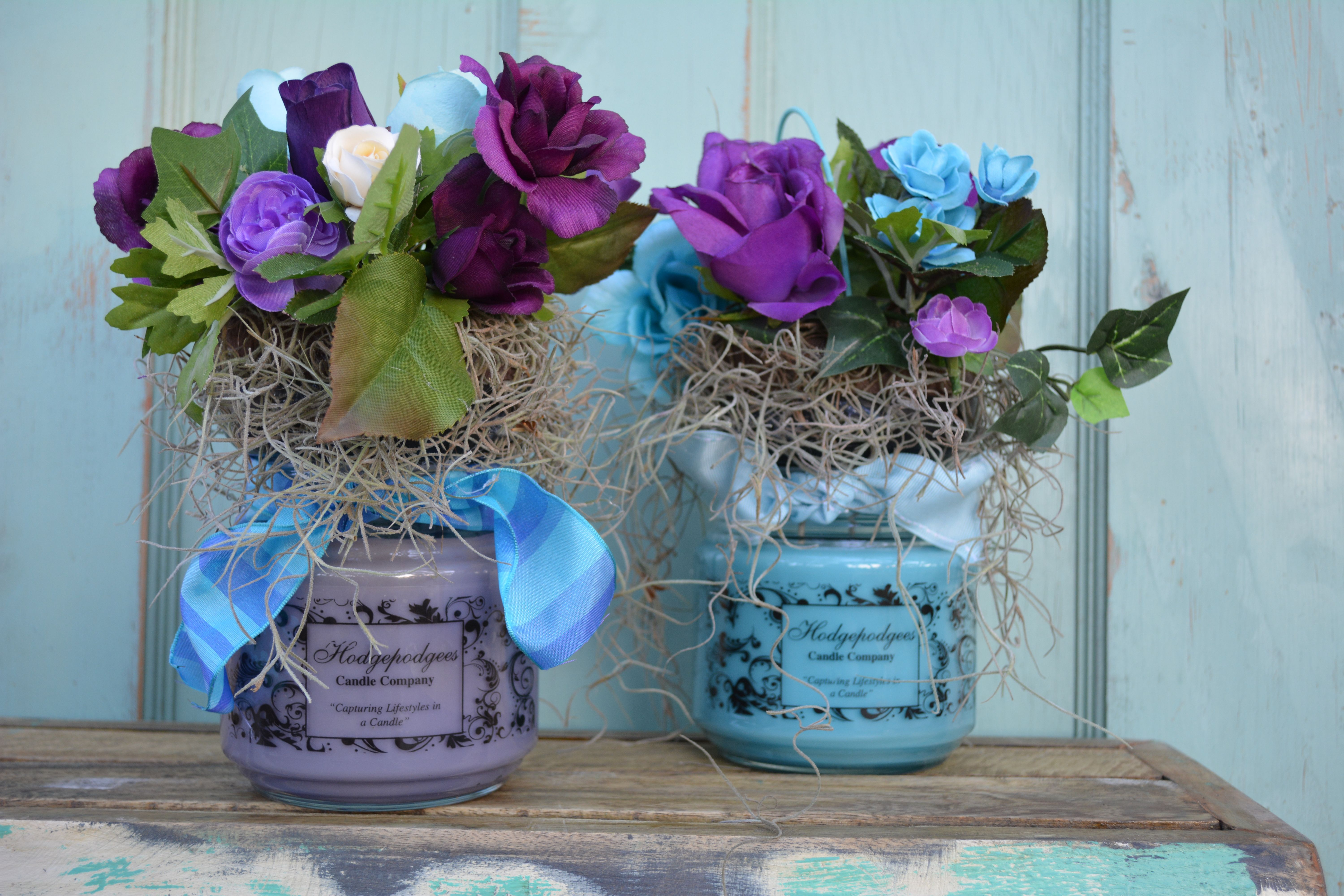 Candle with flowers- perfect for weddings and gifts !!!