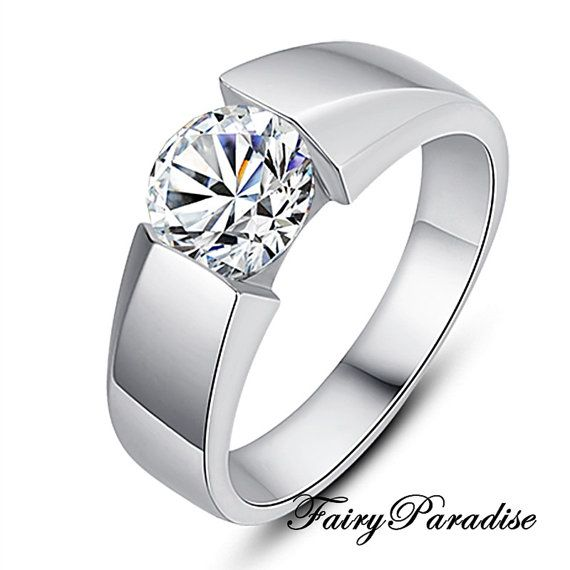 Unisex Wedding Band Mens Ring 1 Ct Man Made Diamond Solitaire Sterling Silver