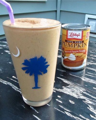 Thanksgiving morning ...Pumpkin Pie Smoothie  1/2 banana (peeled, frozen, diced)  ~1/3 cup pumpkin puree (Libby's)  ~1/3 cup FF plain Greek yogurt  ~3/4-1cup lt vanilla soy milk (or milk of choice)  Few shakes of pumpkin spice (Cinnamon, ginger, nutmeg, and allspice)  Few shakes of cinnamon (optional)  Pinch of cloves  1tsp vanilla  4-5 ice cubes