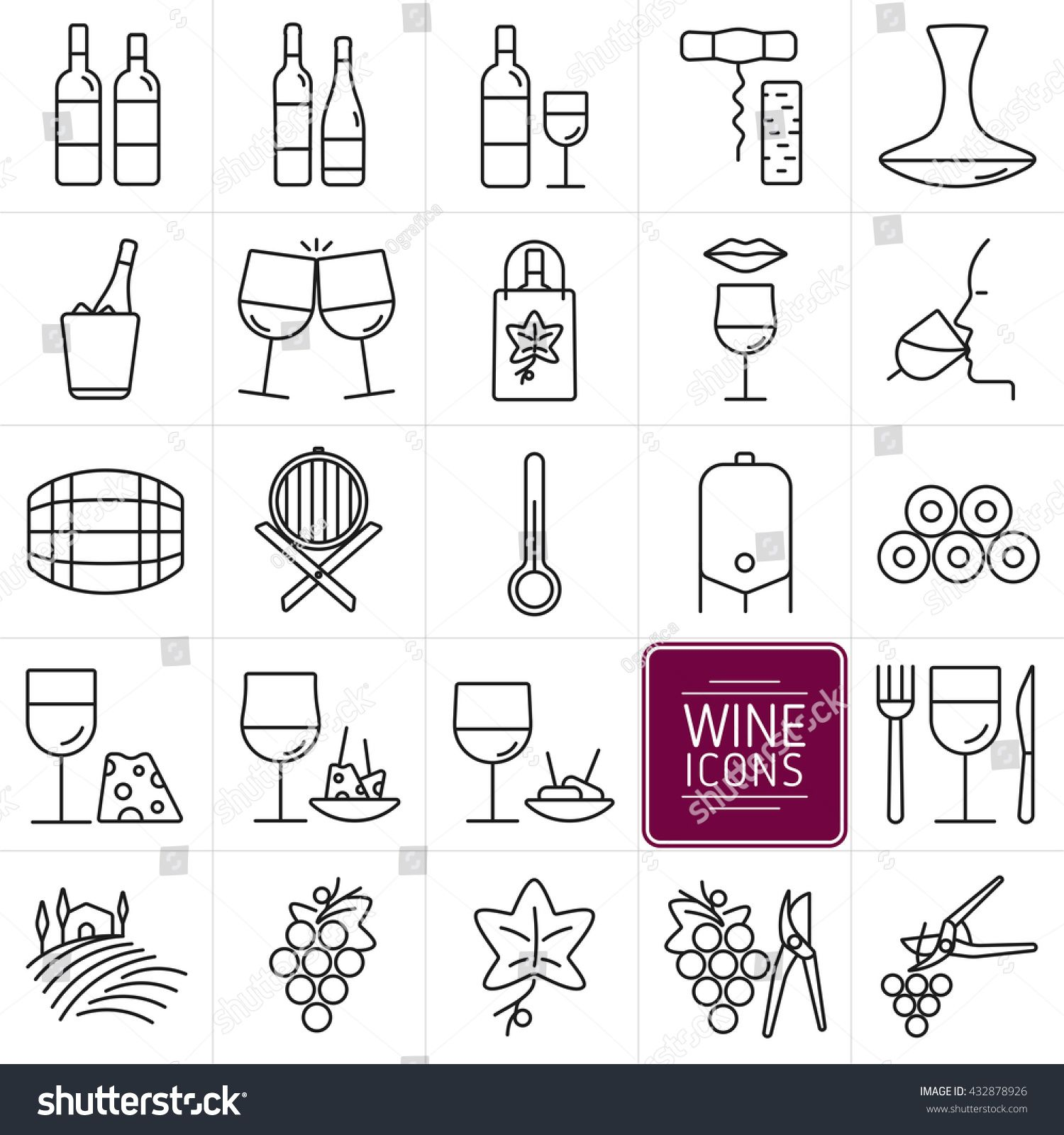 Set Of Icons Of Wine Icons Bottles And Wine Glasses Wine Shop Tasting Food Cellar And Vineyards Vector Illustration Wine Icon Wine Logo Wine Tasting Card