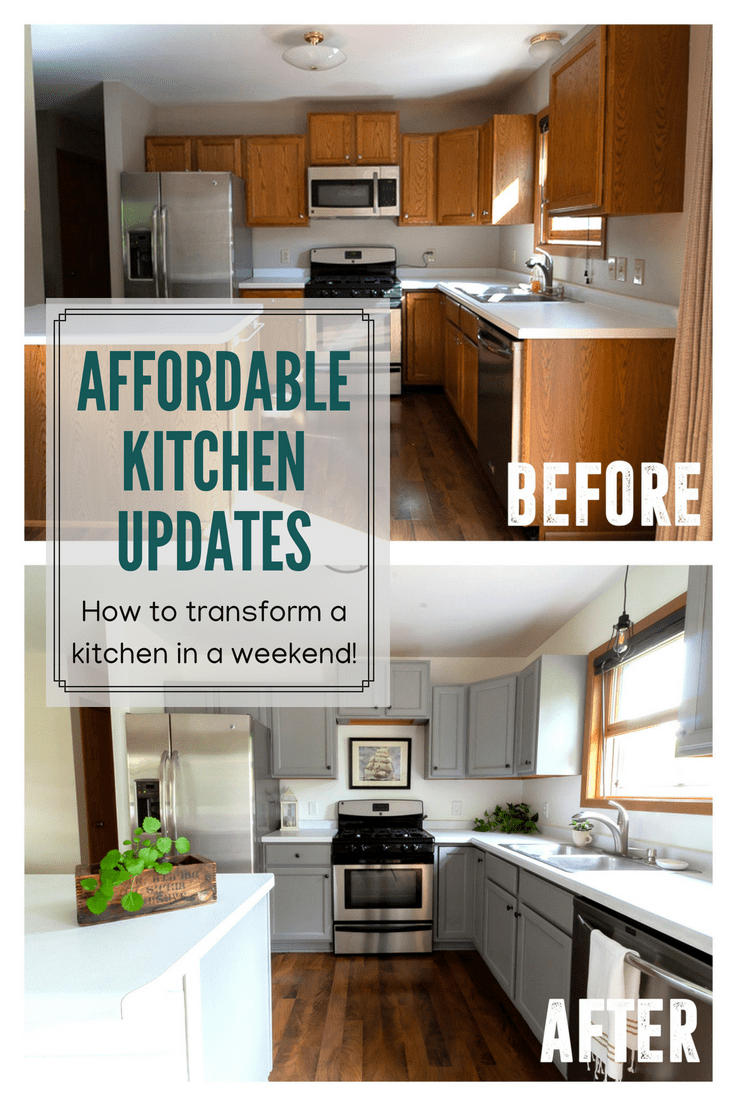 Affordable Kitchen Updates In A Weekend Grey Painted Kitchen Updated Kitchen Kitchen Diy Makeover