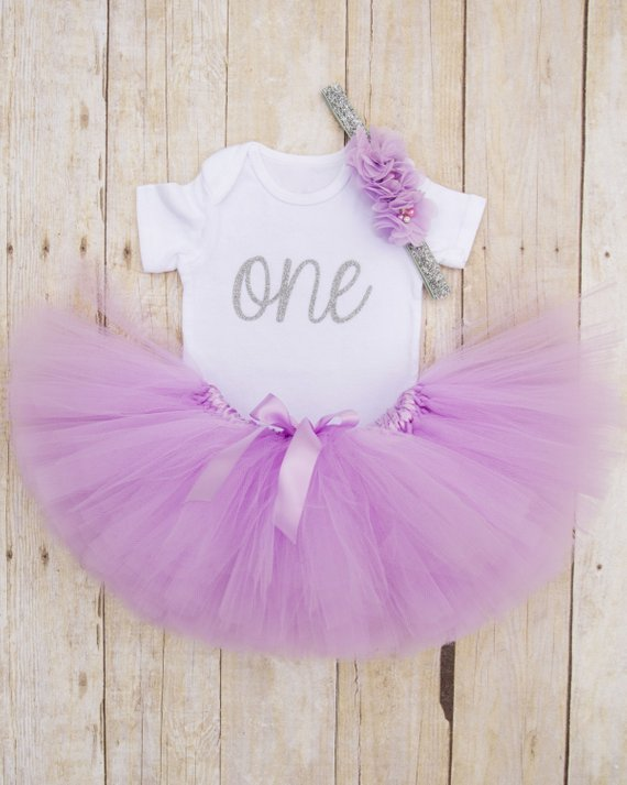 688a9eb5 One Year Old Girl Birthday Outfit...Purple and Silver Tutu...First Birthday Tutu  Outfit...Baby Girl