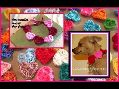 Conversation Hearts Dog Collar Crochet Pattern Dog