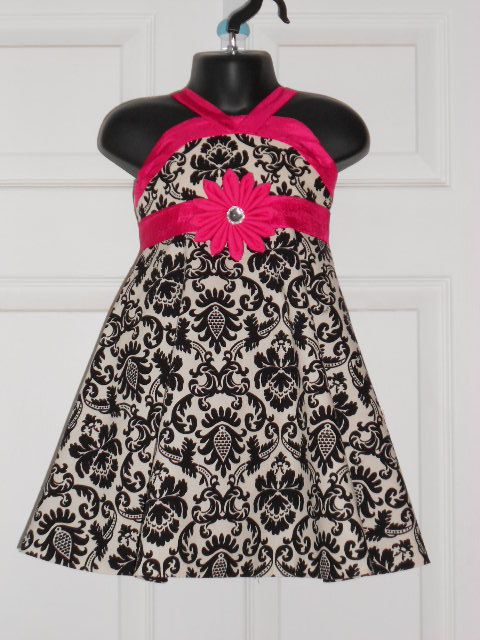 Black White Damask print with hot pink  girl by Theprettybutterfly, $35.00