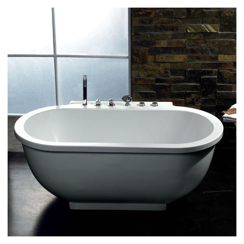 ARIEL Platinum 6ft Oval Freestanding Acrylic Whirlpool Bathtub ...