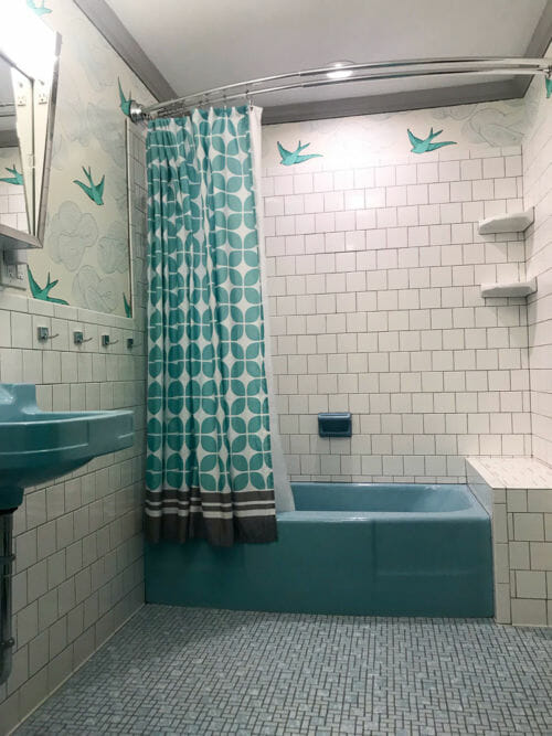 Monica S Retro Bathroom Remodel Built Around A Blue Crane Oxford Tub Sink And Toilet Retro Bathrooms Bathrooms Remodel Blue Bathtub