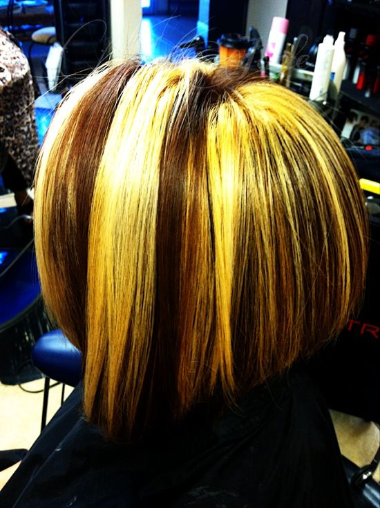 Blonde With Copper Gold Hair Color 17913 Chunky Highlights And
