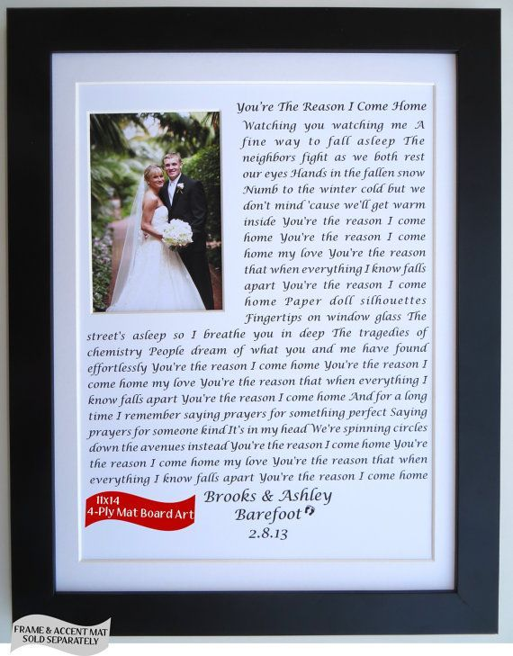 Anniversary Gift Ideas For Him Her Husband Wife Wedding Vows Song Lyrics Personalized