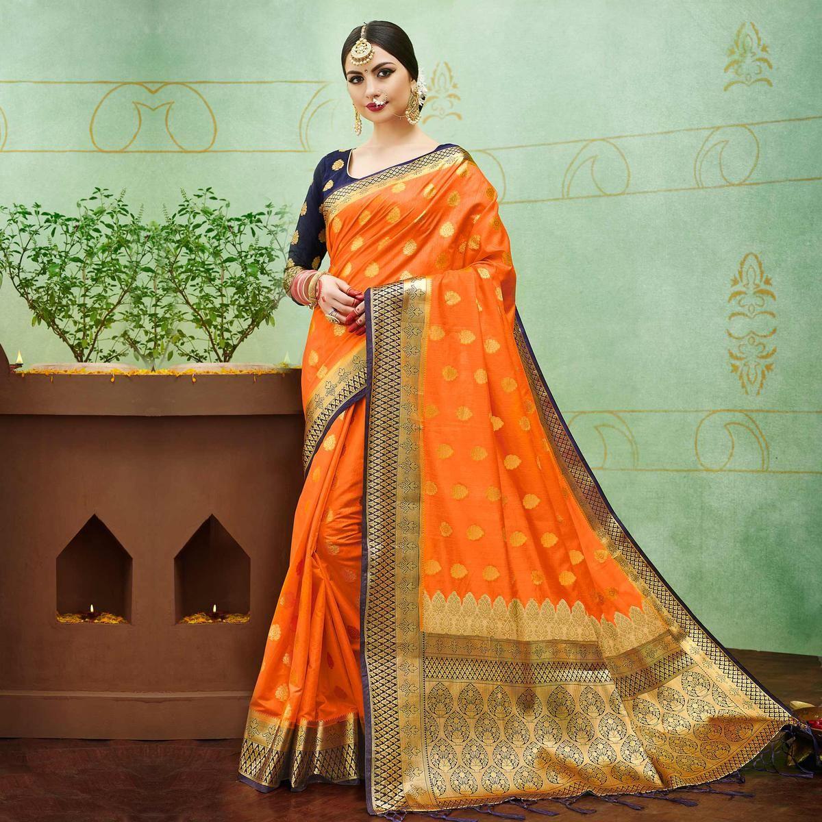 dc25485c8 Buy Orange-Blue Colored Designer Festive Wear Banarasi Silk Saree Online  India