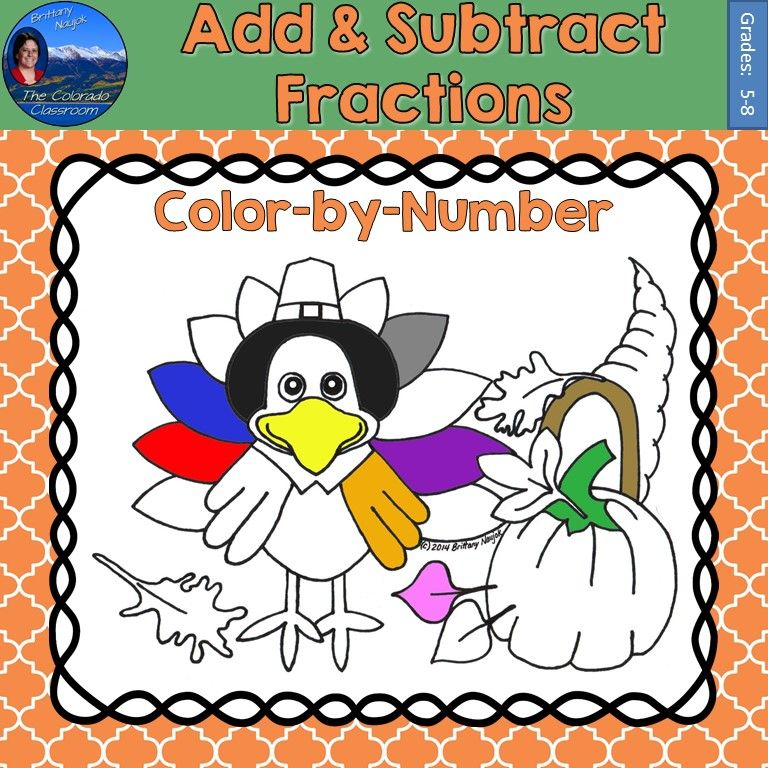 Fraction Worksheets thanksgiving fraction worksheets : Add & Subtract Fractions Math Practice Thanksgiving Color by ...