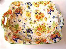 Colorful Handled Porcelain MIJ Chintz Dish