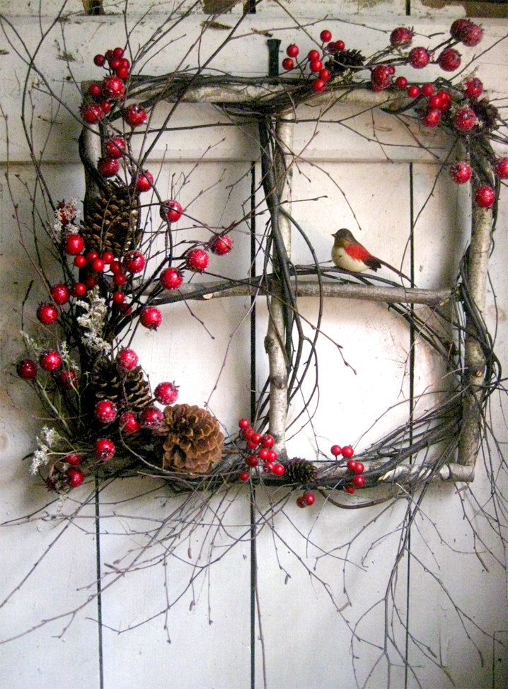 """Liking this wreath alternative - a Christmas window - size is 15""""x15"""" and with the added branches 21""""x21""""  https://www.etsy.com/transaction/170438864?"""