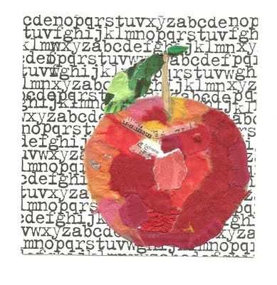 collage apple for art quilt idea Paper collage art