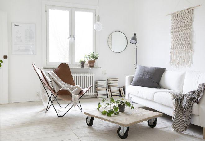summer style scandinavian interior_living room