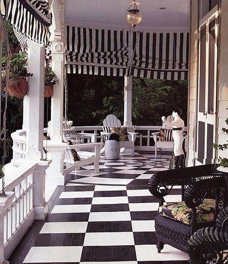 Black & White floor plus green & white striped fabric make a statement.