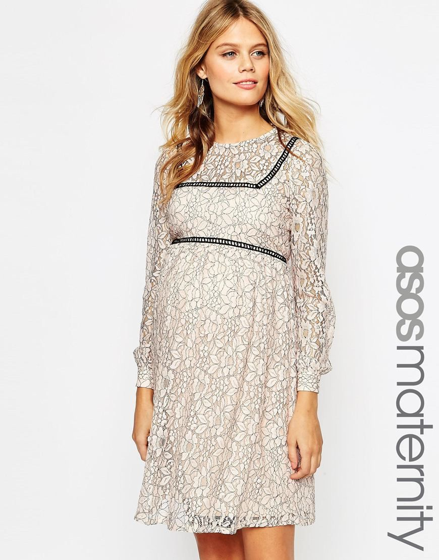 Asosmaternitylaceskaterdresswithladdertrim all things discover the latest maternity dresses at asos shop for maternity maxi dresses pregnancy dresses and special occasion maternity dresses online with asos ombrellifo Image collections