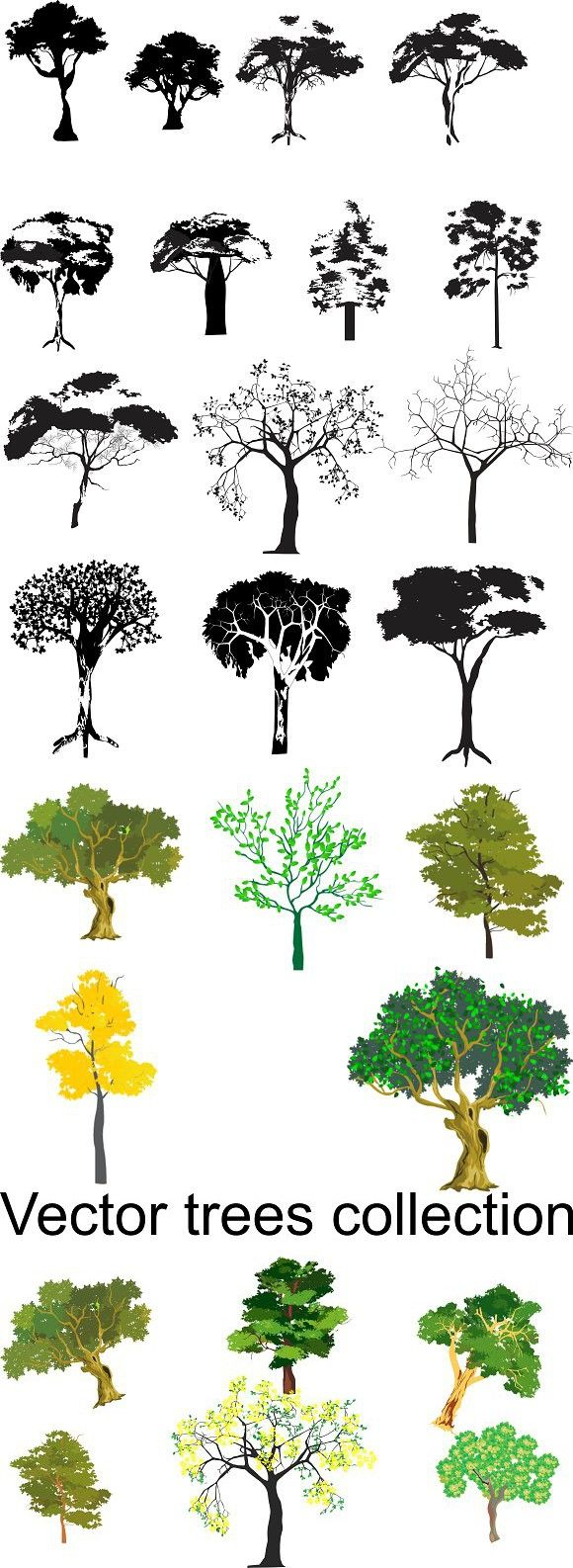 Collection of vector trees Vector trees, Tree, Vector
