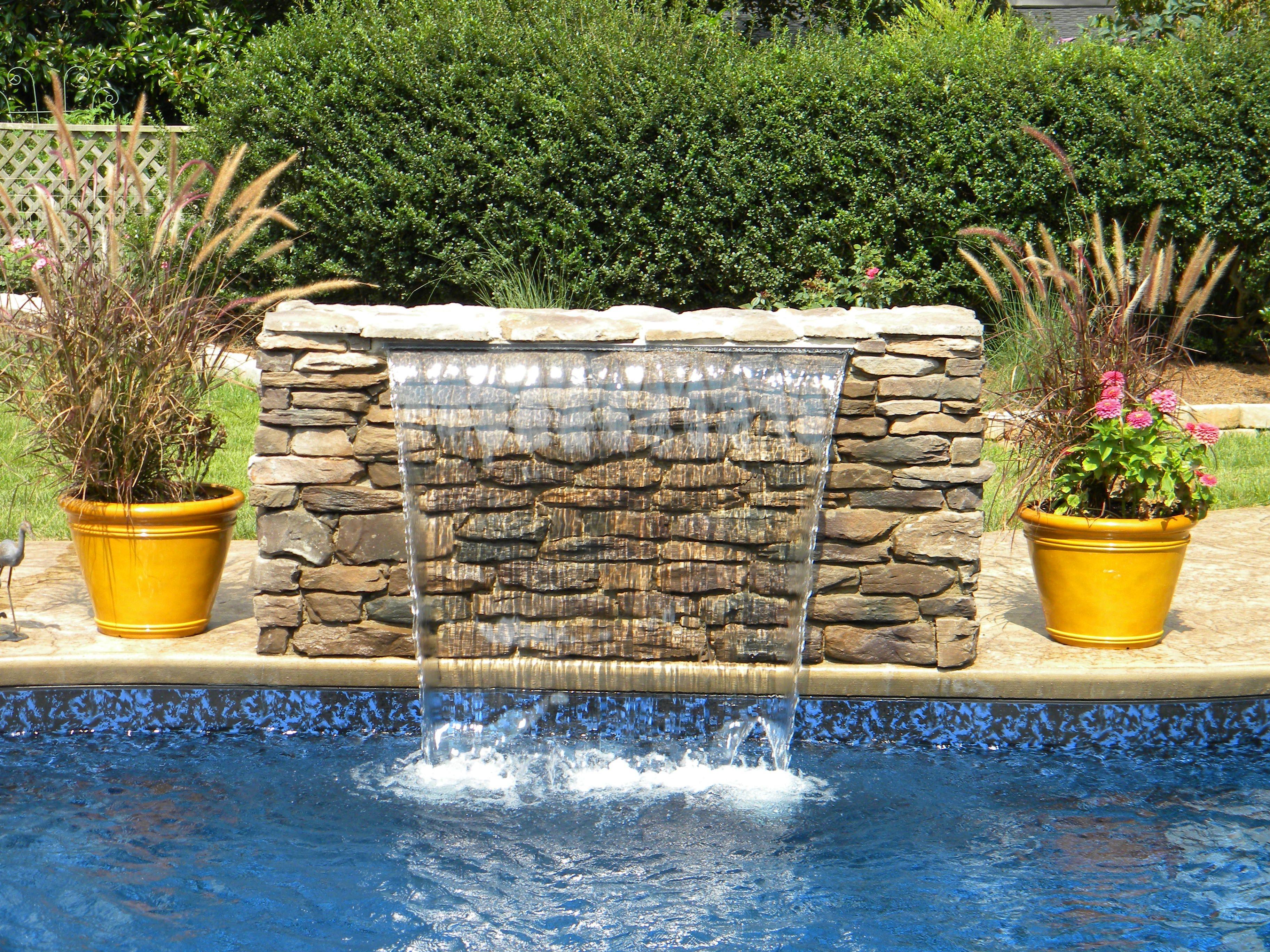 Swimming Pool Sheer Descent Waterfall