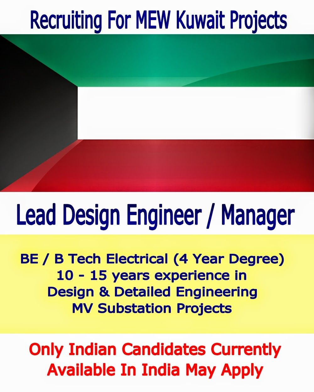 Lead Design Engineer  Manager Electrical For Ministry Of
