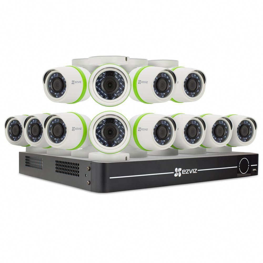 Ezviz Security Camera System 12 Hd 16 Channel 1080p Cameras 2tb And Up Hdd Surveillance Systems 100 Ft Night Vision Bd 1g3cb2 The Home Depot Security Camera System Security Cameras For Home Home