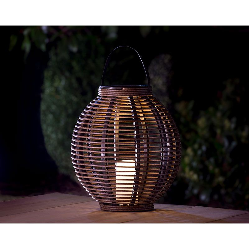 Premium Rattan Effect Lantern With Realistic Flickering