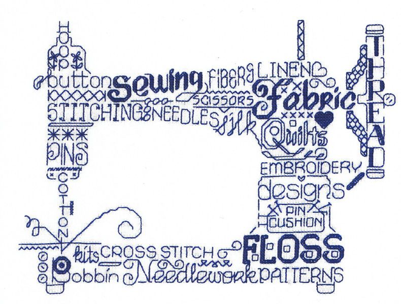 An attractive design of a sewing machine made up of stitching terms ...