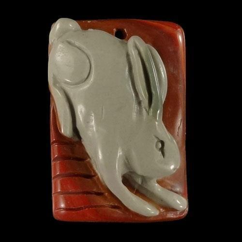 BI38108# Natural Hand Carved Rabbit animal art Succor Creek Jasper Pendant Bead…