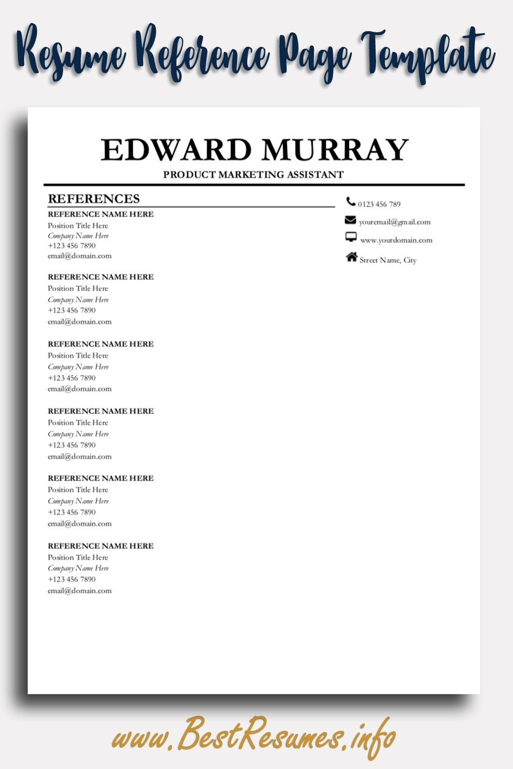 Pin On Resume Reference Page Template