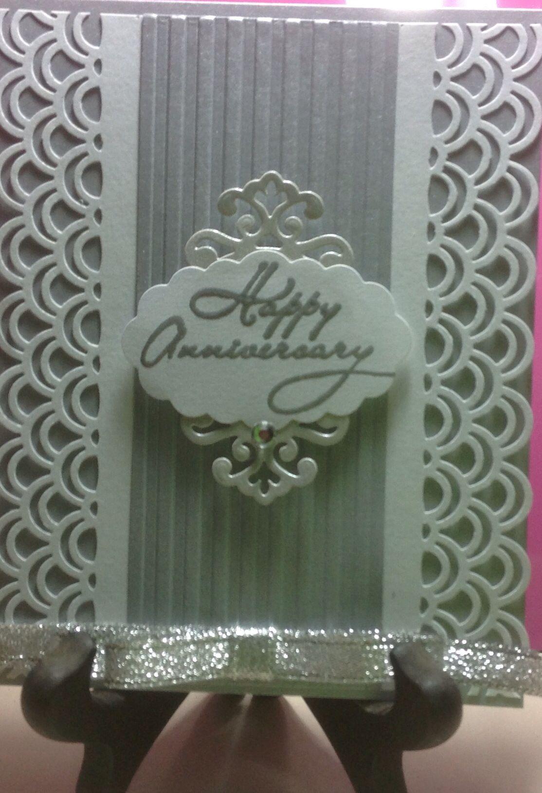 Silver anniversary card. Martha Stewart edge punch