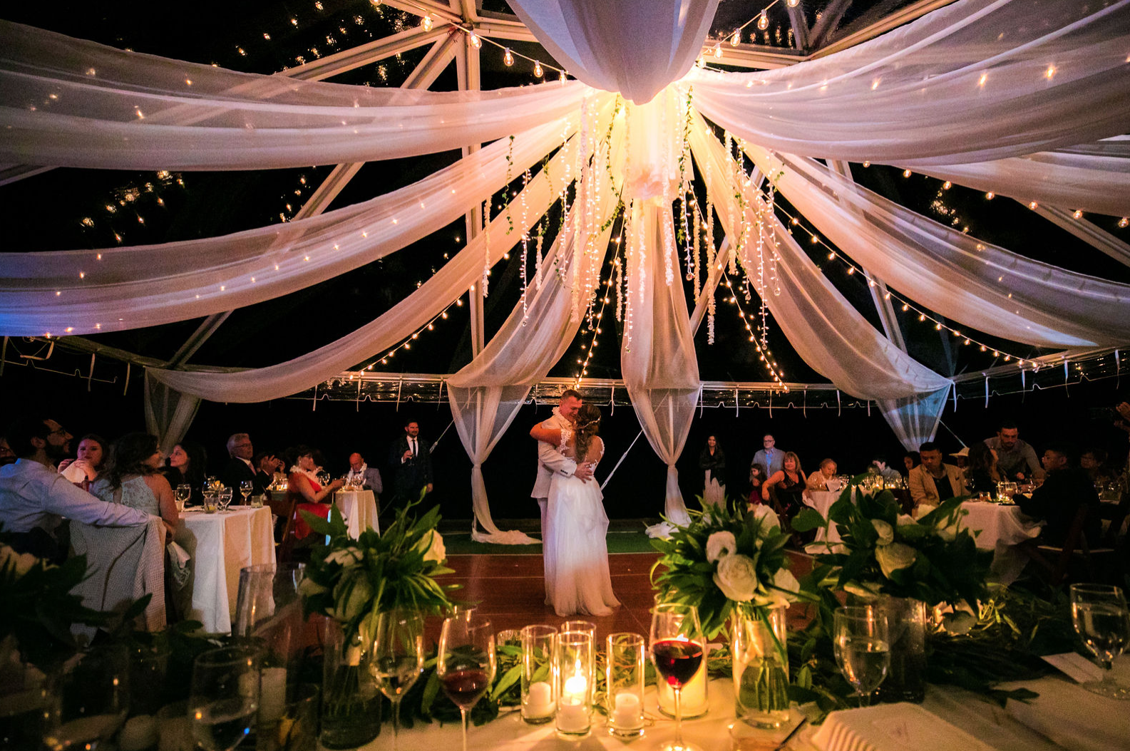 Tent Enhancements Cluster Lights Above The Dance Floor Orchid
