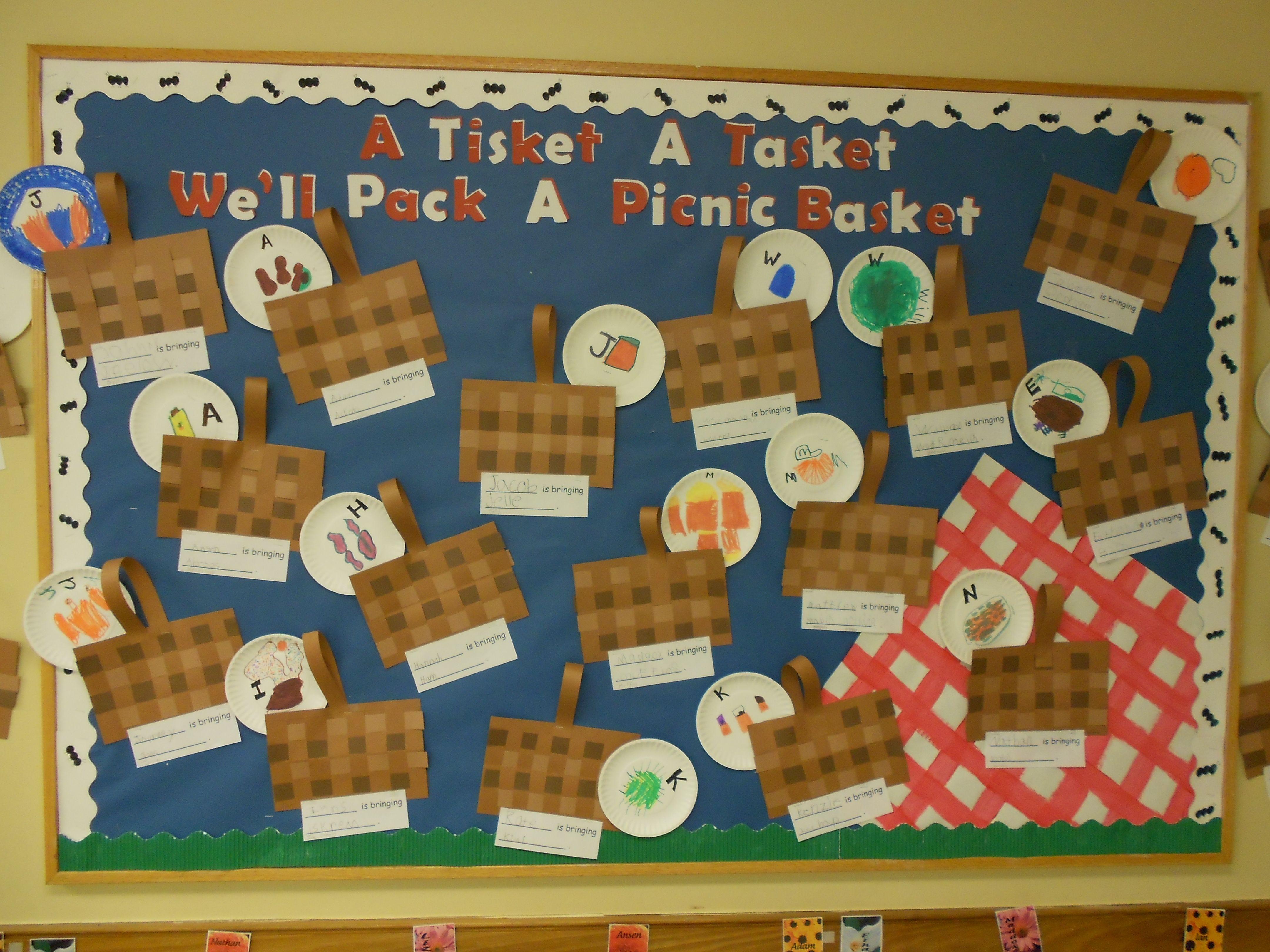 Classroom Theme Basket Ideas ~ Letter recognition food a tisket tasket we ll pack