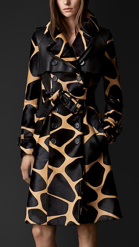 Burberry Animal Print Trench Coat.