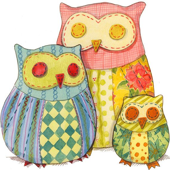 Patchwork Owl Pattern for sewing owl stuffies in 3 sizes FULL SIZE ...