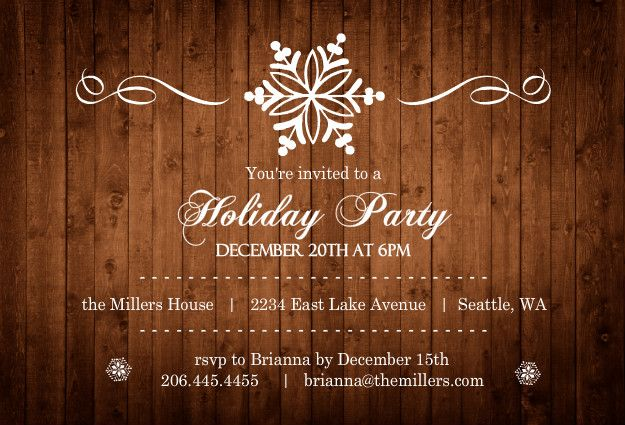 Wood Grain Elegant Snowflake Holiday Party Invite by PurpleTrail - holiday party invitation