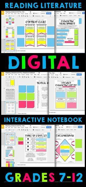 DIGITAL Google Drive Interactive Notebook Reading Literature 6-12